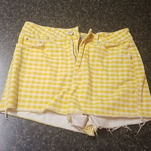Yellow & white checked cut-off shorts